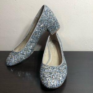 Old Navy Silver Glitter Ballet Block Heels